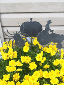 Plant Stakes - Fall Decor - Rustic Metal Decor - Spider Decoration - Hello Fall - Scarecrow