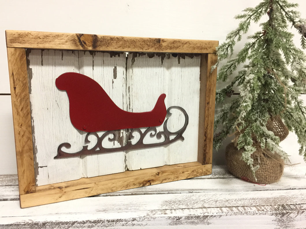 Barnwood Santa Sleigh in Red
