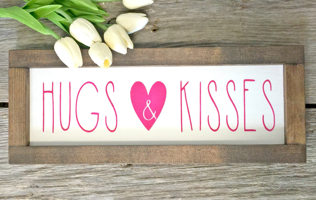 Hugs and Kisses Framed Sign