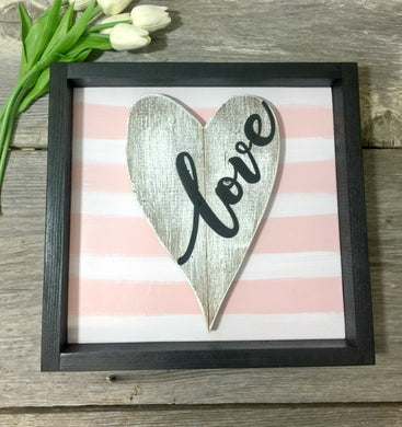 Framed Pink and White Metal Love Barnwood Heart