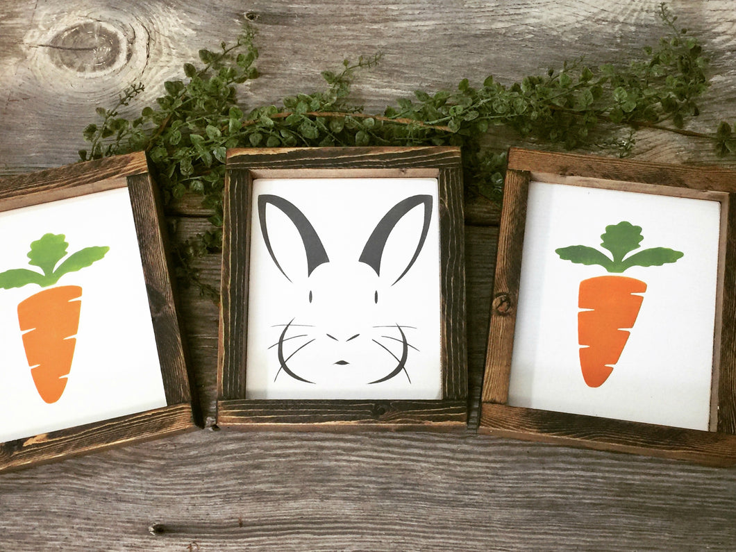 Set of three Spring Bunny and Carrot Framed Signs