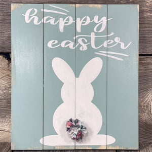 Happy Easter Bunny with Tail Poof - Dry Brushed - Seafoam Blue
