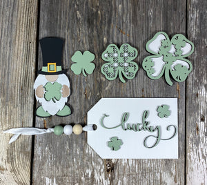 St. Patrick's Day - Kit for 3 Tiered Trays Décor - Laser Pieces Only