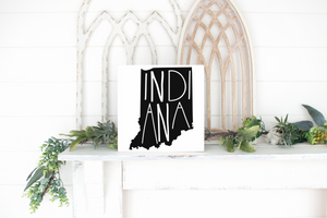 Indiana Wood State Sign - solid - 11.25""