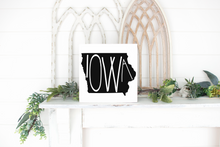 Iowa Wood State Sign - solid - 11.25""