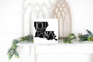 Louisiana Wood State Sign - solid - 11.25""