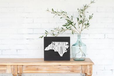 North Carolina Wood State Sign - solid - 11.25