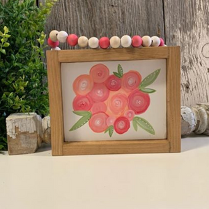 Pink Flowers Framed - Hand painted - Bead Hanger