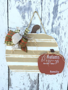 Pumpkin Door Hanger - Personalized Family Name - Fall Decor - Seasonal Autumn Porch Decorations