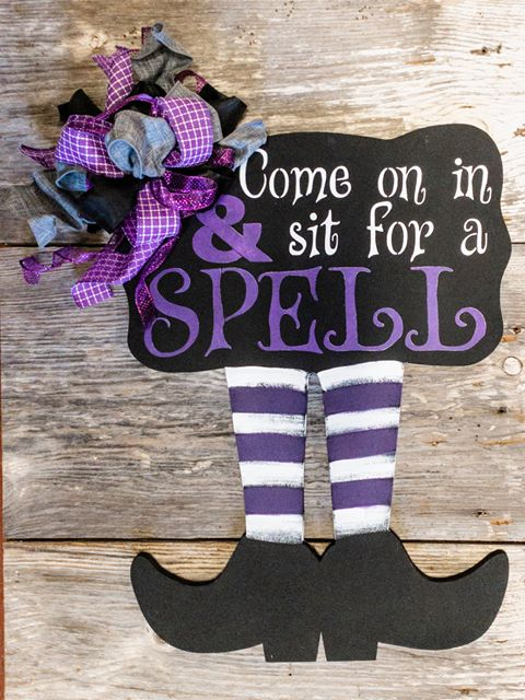 Come On In and Sit a Spell Door Hanger - Halloween Porch Decor