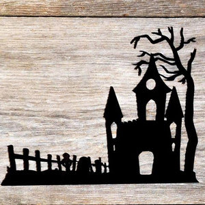 Spooky Haunted House Metal Interchangeable Home Decor Accent - Halloween Shelf Decor