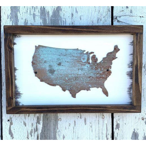 Metal USA Framed Sign - Farmhouse Patriotic Plaque - Home Decor Walling Hanging - USA