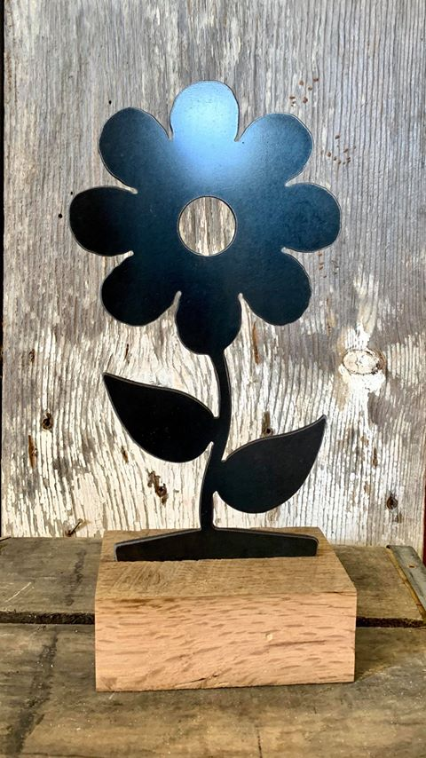 Large Metal Flower Interchangeable Wooden Base