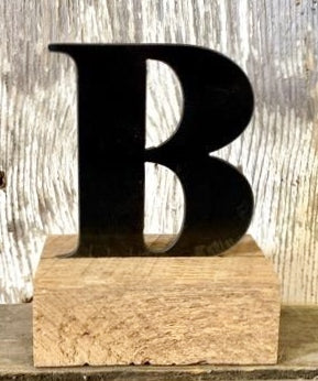 Metal Letter OR Number with Wooden Base