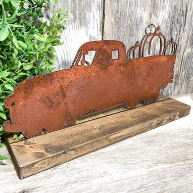 Rusty Metal Pumpkin Truck - Vintage Vehicle - Inlay Interchangeable