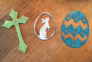 Metal Magnet Egg Cross Bunny - Set of 3