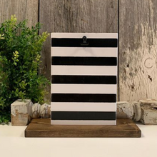 Striped Picture Holder - SMALL White with Black Stripes