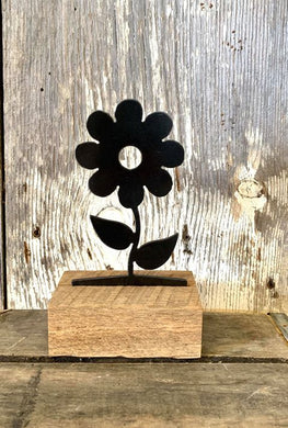 Small Metal Flower Interchangeable Wooden Base
