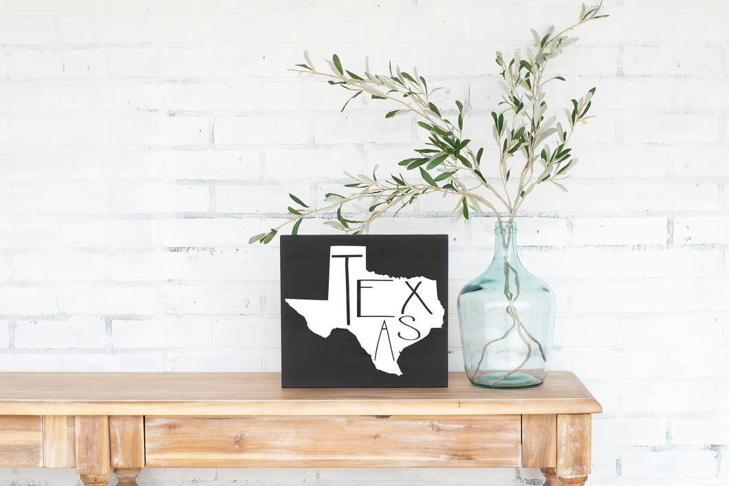 Texas Wood State Sign - solid - 11.25
