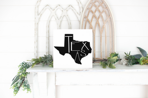Texas Wood State Sign - solid - 11.25""