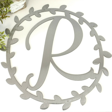 Metal Vine Wreath with Custom Letter