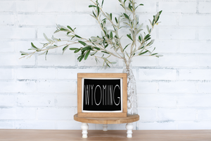 Wyoming Wood State Sign - solid - 7.25""