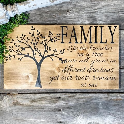 Family Like the Branches on a Tree We All Grow In Different Directions Yet Our Roots Remain As One - Wood Sign - Family Quotes - Rustic Farmhouse Living Room Wall Hanging Decor