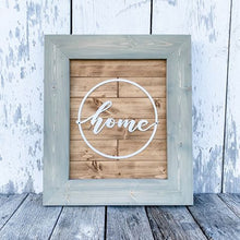Metal Home Wreath Framed Sign - Shiplap Wood Floor Style - Wooden Home Decor Wall Hanging