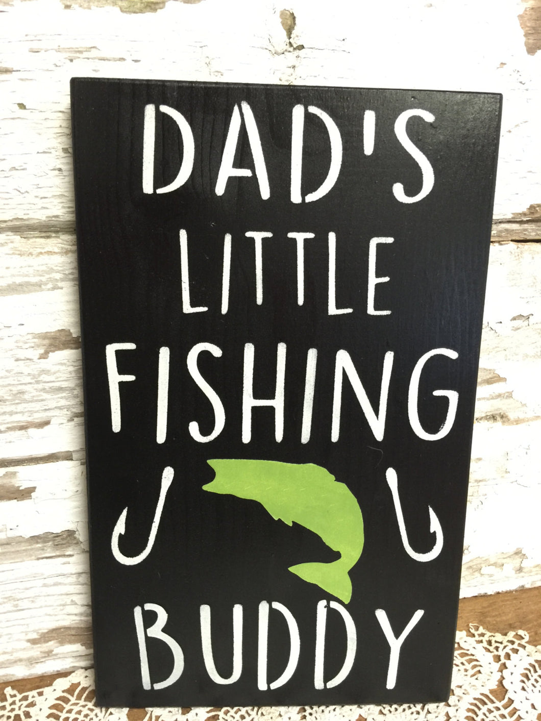 Rustic Wood Sign - Child's Bedroom Decor - Dad's Fishing Buddy - Baby Shower Gift - Fishing Sign - Rustic Decor - Fishing Wall Hanging