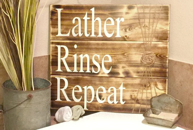 Bathroom Sign - Bathroom Decor - Rustic Bathroom Sign - Bathroom Wall Hanging - Wood Bathroom Decor - Lather Sign - Rinse Sign -  Wash Sign