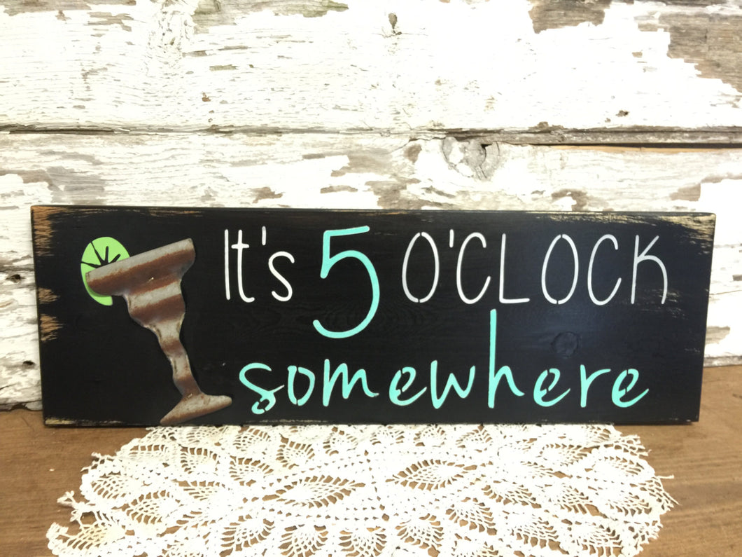 Rustic Wood Sign - Pool Sign - Out Door Decor -  Deck Sign - Porch Sign - Rustic Home Decor - Party Sign - It's 5 o'clock somewhere sign