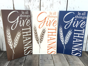 Fall Decor - Rustic Fall Decor - Give Thanks - Thanksgiving Decor - Rustic Wood Sign - Rustic Fall Decor - Rustic Home Decor - Hand Painted