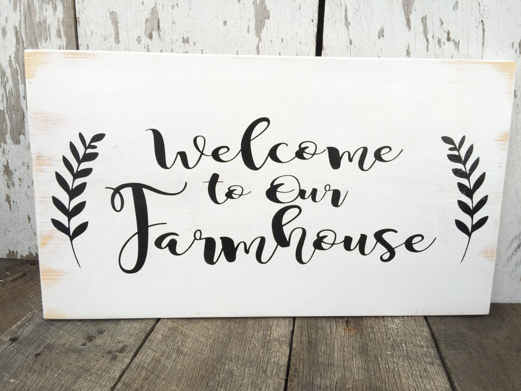Farmhouse Sign - Farmhouse Kitchen Sign - Welcome Sign - Rustic Home Decor - Whitewash Sign - Kitchen Decor - Wood Wall Hanging