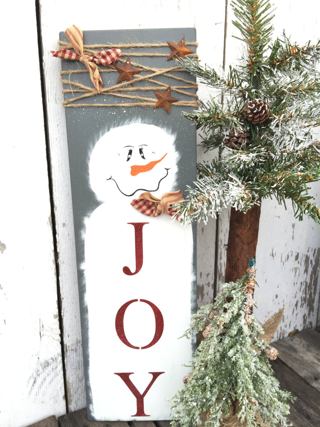 Holiday Decor - Holiday Sign - Rustic Christmas Decor - Country Christmas Decor - Snowman Decor - Believe Sign - Joy Sign - Hand Painted