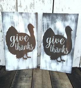 Rustic Give Thanks Sign - Turkey Sign - Give Thanks Wall Hanging - Thanksgiving Sign - Rustic Thanksgiving Decor - Rustic Fall Sign