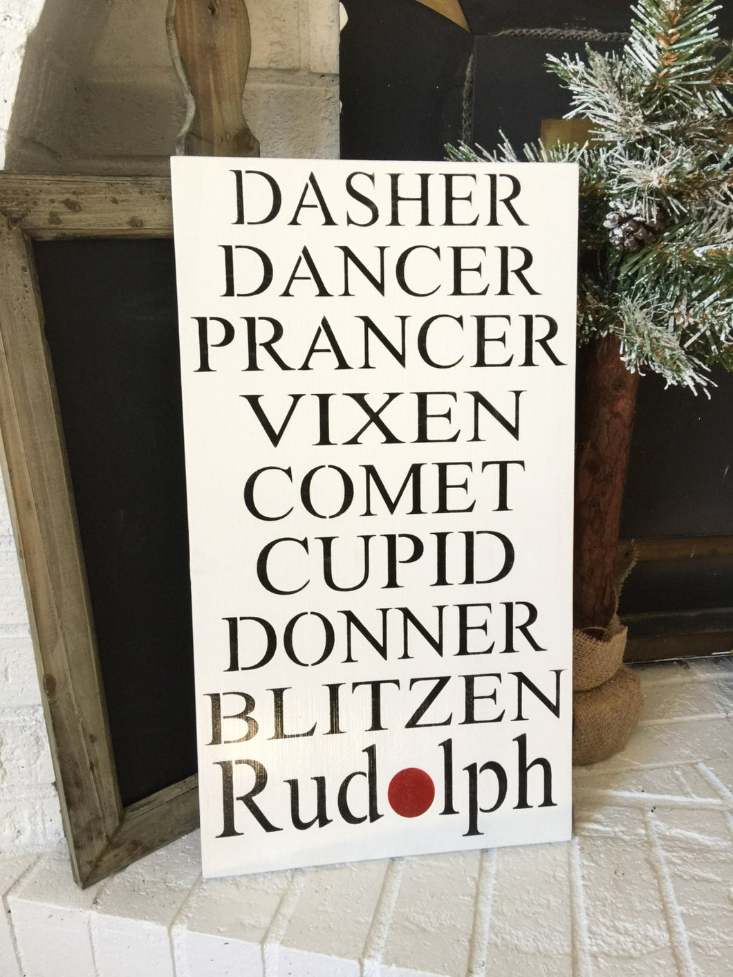 Reindeer Name Sign - Christmas Wall Decor - Holiday Decor - Rustic Christmas Sign - Reindeer Sign - Hand Painted Holiday Sign Wood sign