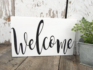 Welcome Sign - Farmhouse Sign - Farmhouse Decor - Rustic Home Decor - White  Sign - Hand painted - Wood Wall Hanging - Cottage Decor