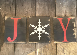 Set of three J O Y Block Signs - Seasonal Christmas Holiday Wall Decor Saying Quotes - Motivational Joy - Inspirational Winter Shelf Sitter