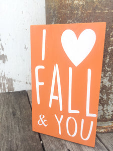 Rustic Fall Decor - Fall Decor - Fall Sign - Fall Wooden Wall Hanging - Fall Porch Decor - I love you sign - Wooden Fall Sign - Hand Painted