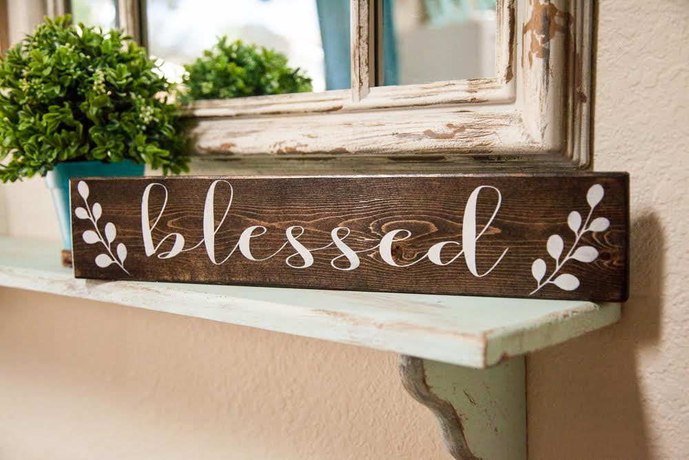 Rustic Wood Sign -  Blessed Sign - Rustic Home decor - Shelf Sitter - Rustic Sign - Wooden Wall Hanging - Wood Sign - Hand Painted sign