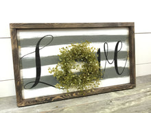 Love Sign - Stripe wall decor - Love Wall Hanging - Farmhouse Sign - Wreath Sign - Wedding Decor - Rustic Wall Hanging -  Hand painted Sign