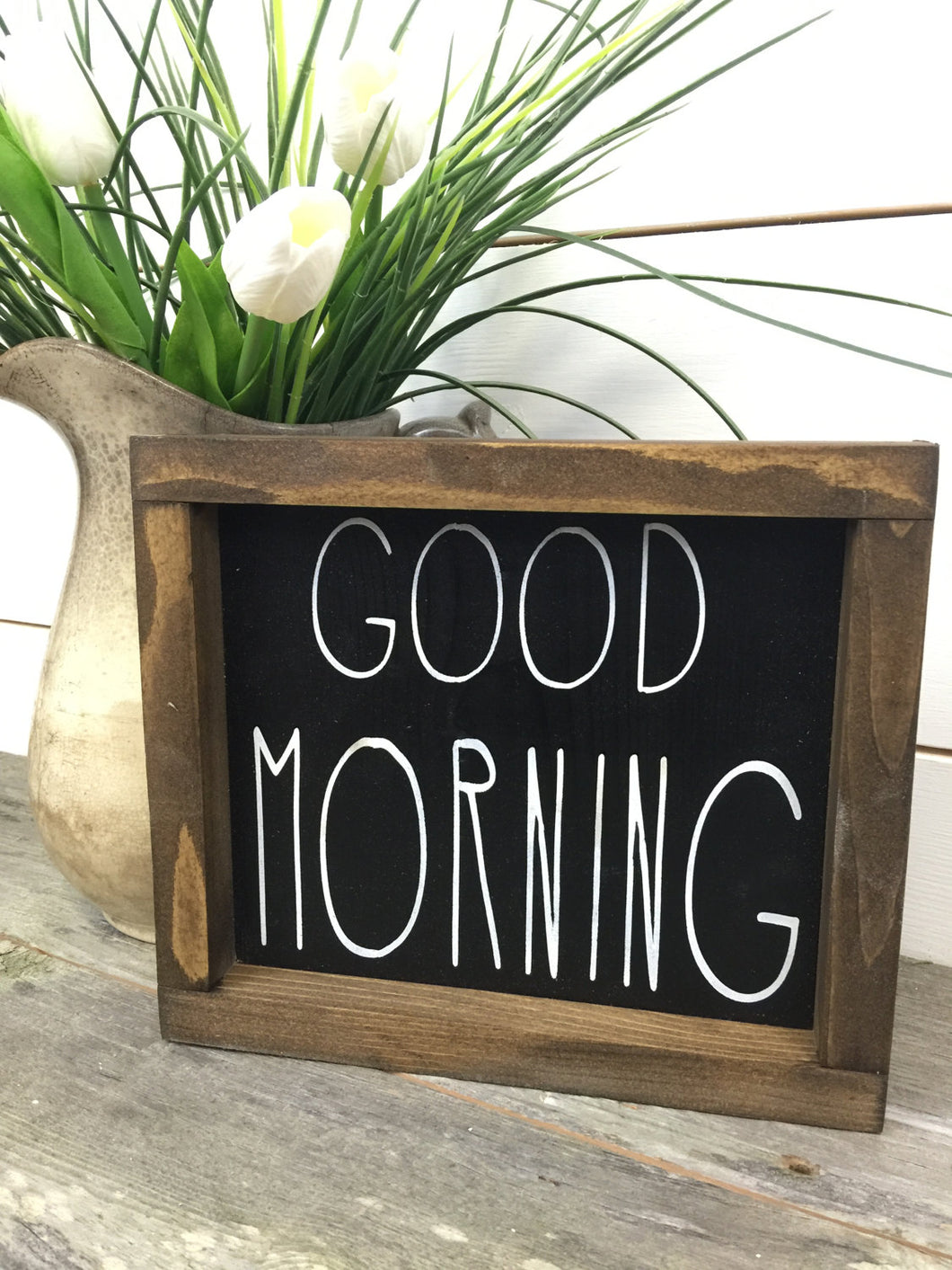 Good Morning Wood Sign - Rustic Wood Sign - Rustic Home Decor - Farmhouse Sign - Cottage Sign - Black Sign - Rustic Wood Wall Hanging