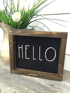 Hello Rustic Wood Sign - Farmhouse Decor - Farmhouse Sign - Hello Wood Wall Hanging - Cottage Sign - Black Sign - Framed Hand Painted Sign