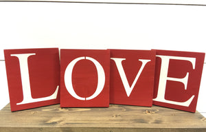 Love Blocks - Love Signs - Valentines Day Decor - Wedding Decor - Wedding Signs - Mantle Decor - Wood Shelf Sitters - Wood Wall Hanging