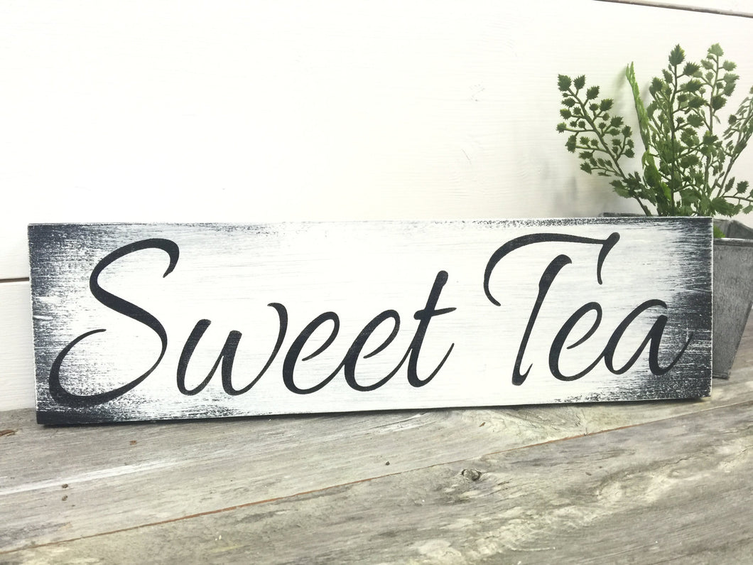 Sweet Tea Sign - Farmhouse Tea Sign - Rustic Wood Sign - Sign For Kitchen - Tea Sign - White Sign - Farmhouse Decor - Rustic Decor