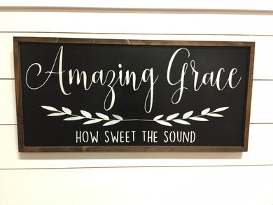 Amazing Grace Sign - Framed Large Wood Sign