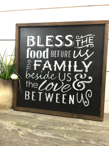 Bless The Food Before Us Wood Sign - Rustic Wood Sign - Kitchen Decor - Farmhouse Decor - Rustic Home Wall Hanging - Rustic Home Decor