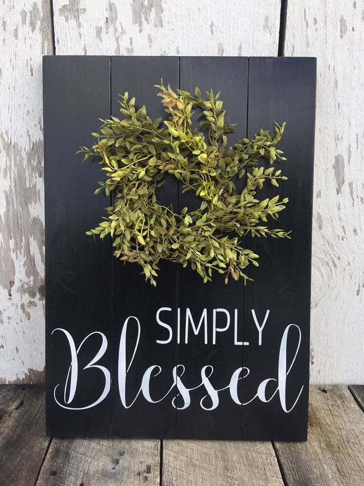 Simply Blessed Wood Sign - Farmhouse Decor - Rustic Wood Sign - Wreath Sign - Farmhouse Sign - Rustic Home Decor - Black Wall Hanging