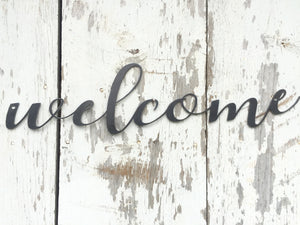 Metal Welcome Sign - Metal Word - Metal Wall Art - Rustic Metal Word Art sign - Metal Sign - Welcome Wall Hanging - Industrial Home Decor