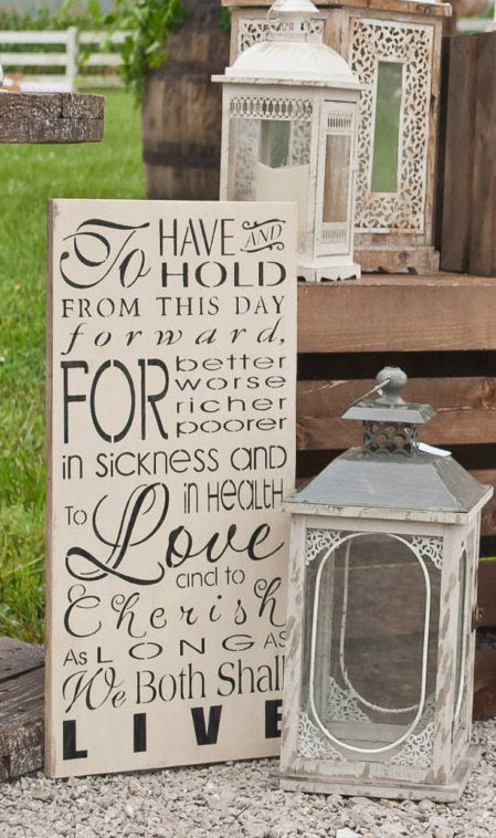 Wedding Vow Sign - Wedding Sign - Wedding Decor - Rustic Wedding Sign - Wedding Vow Wall Hanging - Wedding Vows - To Have and To hold